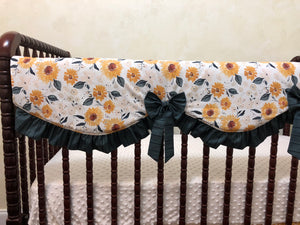 Sunflower Girl Crib Bedding,, Girl Baby Bedding in Gold, Ivory, and Blue