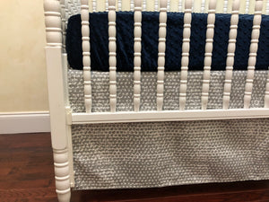 Dinosaur Crib Bedding Set - Boy Baby Bedding, Dinosaur Baby Bedding with Navy Blue, Gray, and Lime Green