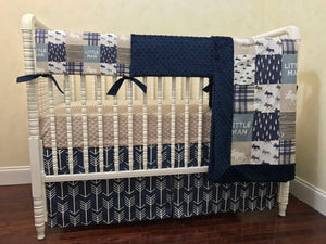 Little Man Moose Woodland Crib Bedding Set in Navy Blue and Tan - Boy Baby Bedding, Crib Rail Cover