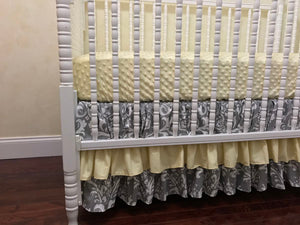 Gray Damask and Light Yellow Girl Baby Bedding Set Nasleen - Girl Crib Bedding, Crib Rail Cover with Ruffled Skirt