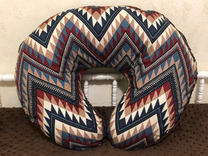 Western Chevron with Brown Minky Dot Nursing Pillow Cover