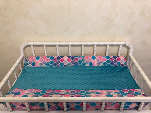 Mermaid Tile Crib Bedding Set - Girl Baby Bedding, Mermaid Bedding in Aqua, Teal, and Lavender