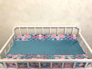 Changing Pad Cover - Mermaid Tile with Teal Minky