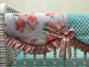 Sweet Pastel Floral Girl Crib Bedding, Peach,Mint Floral Girl Baby Bedding
