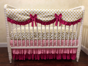 Gold Dots with Pink Girl Crib Bedding - Girl Baby Bedding, Scalloped Rail Cover, Tiered Crib Skirt