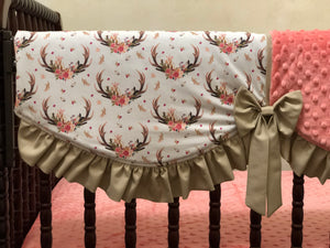 Floral Antler Crib Bedding with Coral and Tan - Girl Crib Bedding, Crib Rail Cover Set