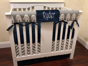 Gray and Navy Blue Elephant Mini Crib Bedding Set - Boy Baby Bedding, Boy Mini Crib Bedding