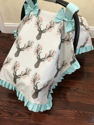Car Seat Cover - Floral Stag with Aqua and Coral