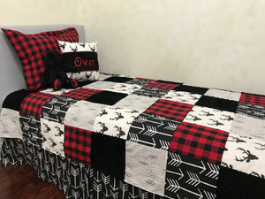 Woodland Kid Bedding with Black Deer and Red Plaid