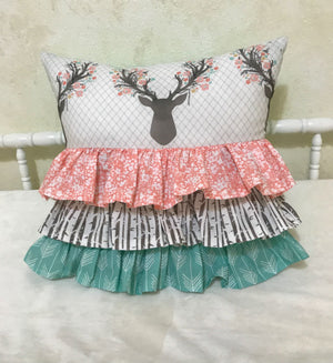 Woodland Kid Bedding with Floral Deer and Coral