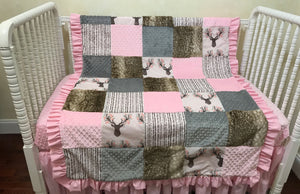 Baby Girl Woodland Deer Patchwork Baby Blanket in Pink and Gray