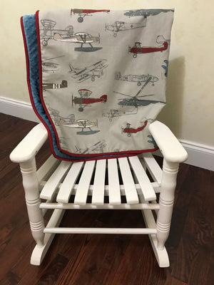 Airplane Crib Bedding Set Justin - Boy Baby Bedding, Airplane Baby Bedding with Blue and Crimson