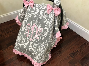 Car Seat Cover - Gray Damask with Light Pink