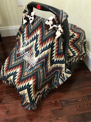 Car Seat Cover - Western Chevron with Ivory