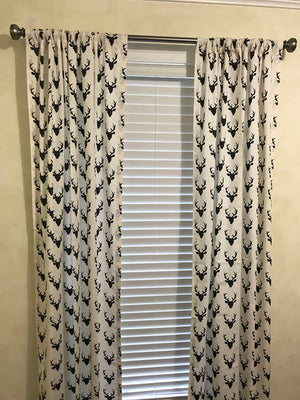 Black Buck Head  Curtain Panels