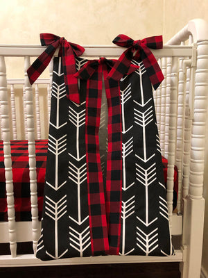 Diaper Stacker - Black Arrows with Red Plaid