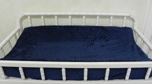 Changing Pad Cover - Navy Minky Dot