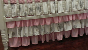 Gray and Pink Girl Baby Bedding Set Adalys - Girl Crib Bedding, Crib Rail Cover with Ruffled Skirt