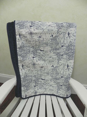 Navy Air Traffic Map with Navy Baby Blanket