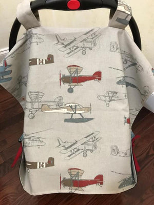 Car Seat Cover - Vintage Air Plane with Navy
