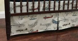 Airplane Baby Bedding Set Logan - Boy Baby Bedding, Crib Bumpers, Gray Airplane Crib Bedding