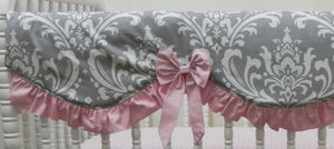 Pink and Gray Girl Baby Bedding Set Alaina - Girl Crib Bedding, Crib Rail Cover