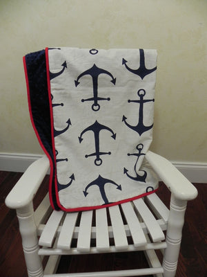 Navy Anchors with Navy and Red Baby Blanket