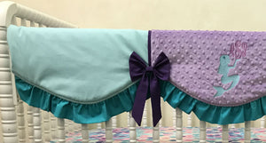 Mermaid Crib Bedding Set Arielle - Girl Baby Bedding, Mermaid Bedding is Aqua, Teal, and Lavender
