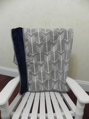 Gray Arrows and Navy Baby Blanket