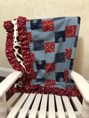 Bandana Patchwork and Pony Minky Baby Blanket with Ruffle