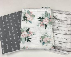 Baby Burp Cloth Set-Woodland Arrow Floral Burp Cloth Set, Gray Arrows, Boho Floral, Gray Barn