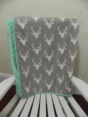 Gray and Mint Woodland Baby Blanket