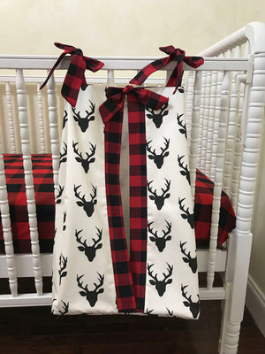 Diaper Stacker - Black Buck and Red Plaid