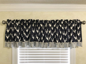 Window Valance- Navy Deer with Gray Arrows