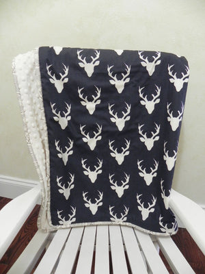 Navy Deer and Ivory Woodland Baby Blanket