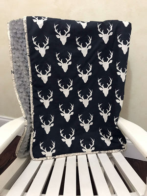 Navy Deer Woodland with Gray and Leaf Baby Blanket