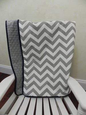 Gray Chevron with Gray and Navy Baby Blanket