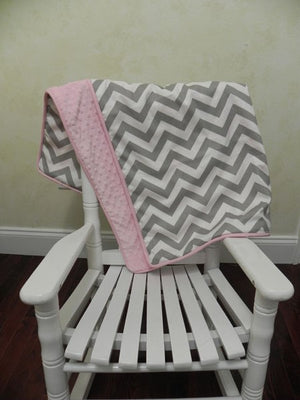 Gray Chevron and Light Pink Baby Blanket