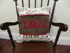 Cowboy Rodeo with Brown and Crimson Red Specialty Pillow