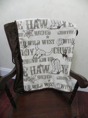Western Cowboy Bedding Set Laramie - Boy Baby Bedding, Crib Bumpers, Cowboy Rodeo Bedding in Brown and Cream