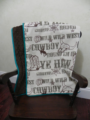 Cowboy with Brown and Teal Baby Blanket