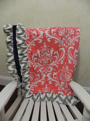 Custom Baby Crib Bedding Set Ellery - Girl Baby Bedding, Coral, Navy, and Gray Crib Bedding, Crib Bumpers