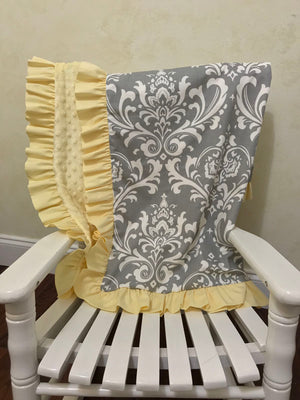 Gray Damask and Light Yellow Baby Blanket with Ruffle