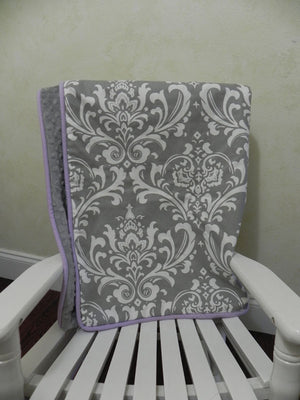 Gray Damask with Lavender Baby Blanket