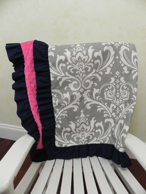Gray Damask with Hot Pink and Navy Baby Blanket with Ruffle