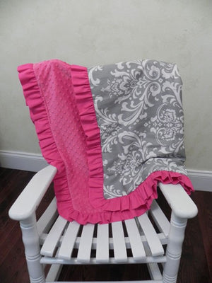Gray Damask and Hot Pink Baby Blanket with Ruffle