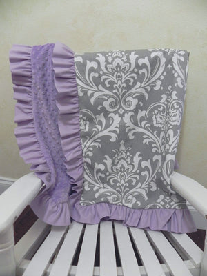 Gray Damask and Lavender Baby Blanket with Ruffle