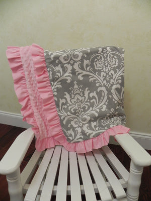 Gray Damask and Light Pink Baby Blanket with Ruffle