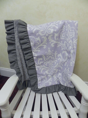 Lavender Damask and Gray Baby Blanket with Ruffle