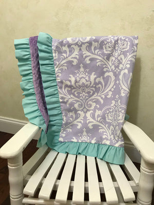 Lavender Damask with Lavender and Aqua Baby Blanket with Ruffle